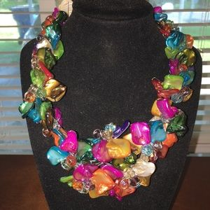Jewelry - A Unique Chunky Colorful Dyed Shell Necklace